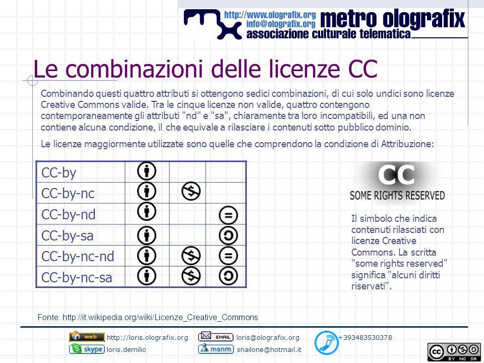 Le combinazioni delle licenze CC Combinando questi quattro attributi si ottengono sedici combinazioni, di cui solo undici sono licenze Creative Commons valide.