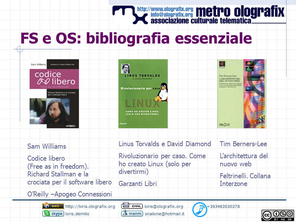 FS e OS: bibliografia essenziale Sam Williams Codice libero (Free as in freedom).