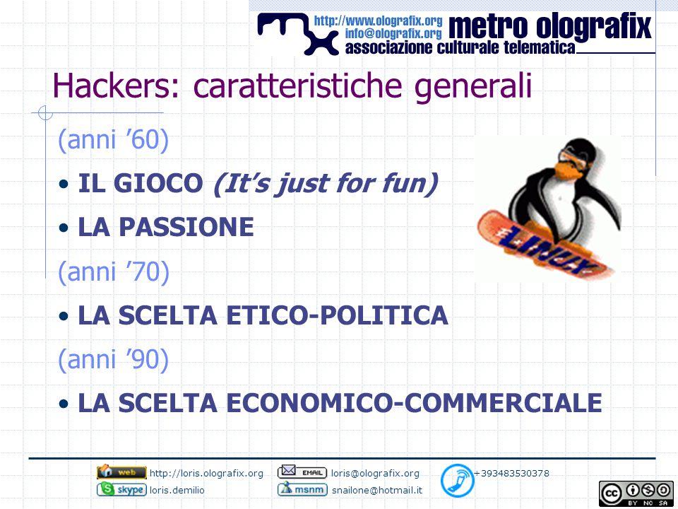 Hackers: caratteristiche generali (anni '60) IL GIOCO (It's just for fun) LA PASSIONE (anni '70) LA SCELTA ETICO-POLITICA (anni '90) LA SCELTA ECONOMICO-COMMERCIALE http://loris.olografix.org loris@olografix.org +393483530378 loris.demilio snailone@hotmail.it