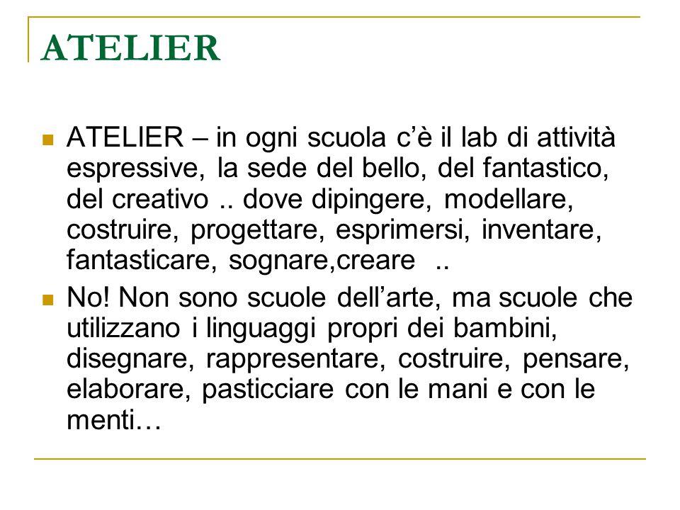 ATELIER ATELIER – in ogni scuola c'è il lab di attività espressive, la sede del bello, del fantastico, del creativo..