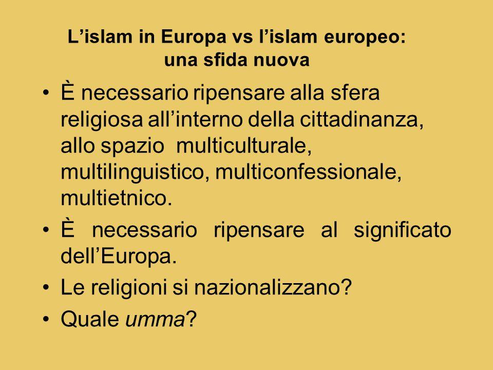È necessario ripensare alla sfera religiosa all'interno della cittadinanza, allo spazio multiculturale, multilinguistico, multiconfessionale, multietnico.