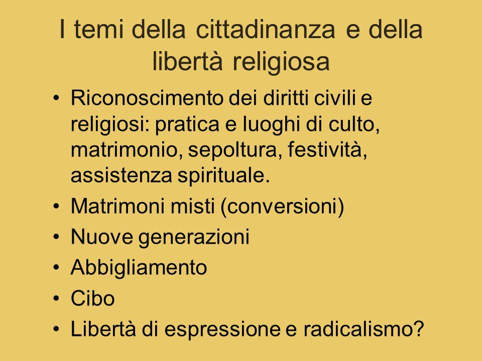 I temi della cittadinanza e della libertà religiosa Riconoscimento dei diritti civili e religiosi: pratica e luoghi di culto, matrimonio, sepoltura, festività, assistenza spirituale.
