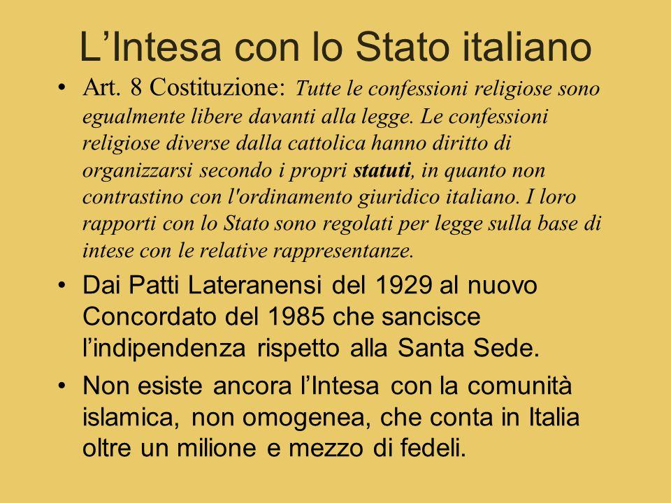 L'Intesa con lo Stato italiano Art.