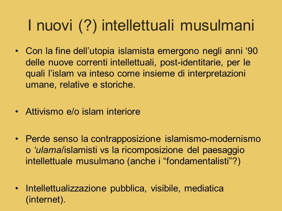 I nuovi (?) intellettuali musulmani Con la fine dell'utopia islamista emergono negli anni '90 delle nuove correnti intellettuali, post-identitarie, per le quali l'islam va inteso come insieme di interpretazioni umane, relative e storiche.
