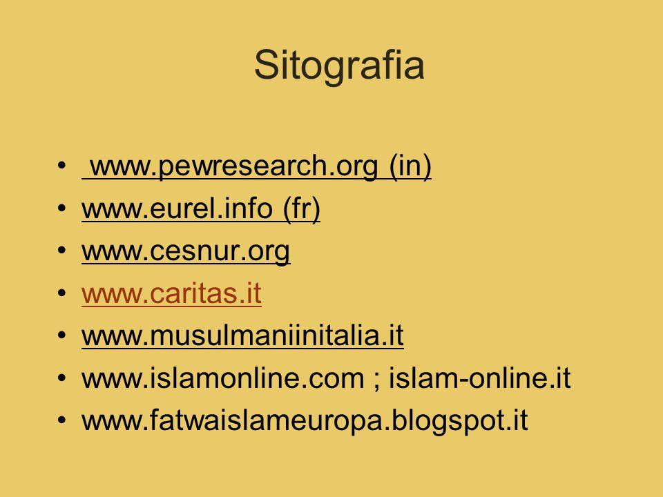 Sitografia www.pewresearch.org (in) www.eurel.info (fr) www.cesnur.org www.caritas.it www.musulmaniinitalia.it www.islamonline.com ; islam-online.it www.fatwaislameuropa.blogspot.it