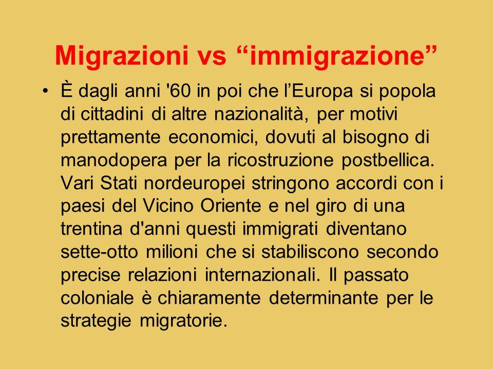 Migrazioni vs immigrazione È dagli anni 60 in poi che l'Europa si popola di cittadini di altre nazionalità, per motivi prettamente economici, dovuti al bisogno di manodopera per la ricostruzione postbellica.
