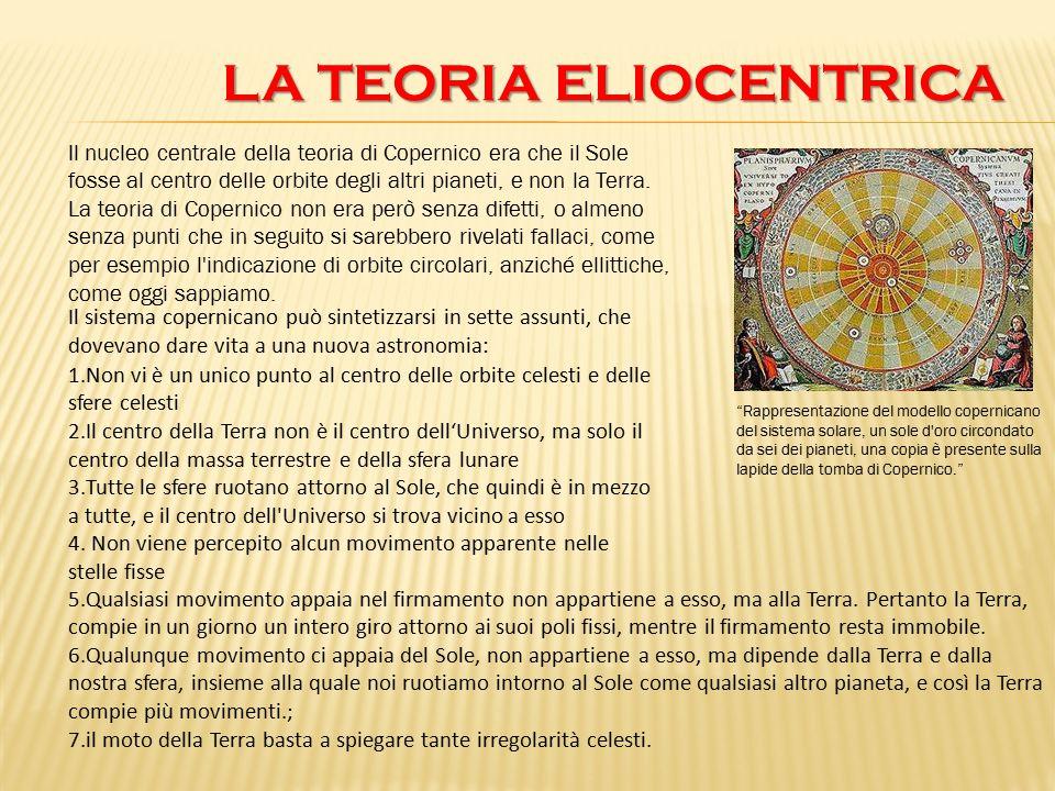 LA TEORIA ELIOCENTRICA LA TEORIA ELIOCENTRICA Il nucleo centrale della teoria di Copernico era che il Sole fosse al centro delle orbite degli altri pi