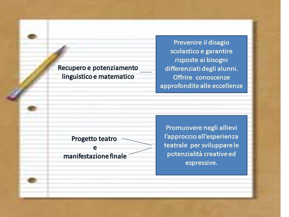 Prevenire il disagio scolastico e garantire risposte ai bisogni differenziati degli alunni. Offrire conoscenze approfondite alle eccellenze Promuovere