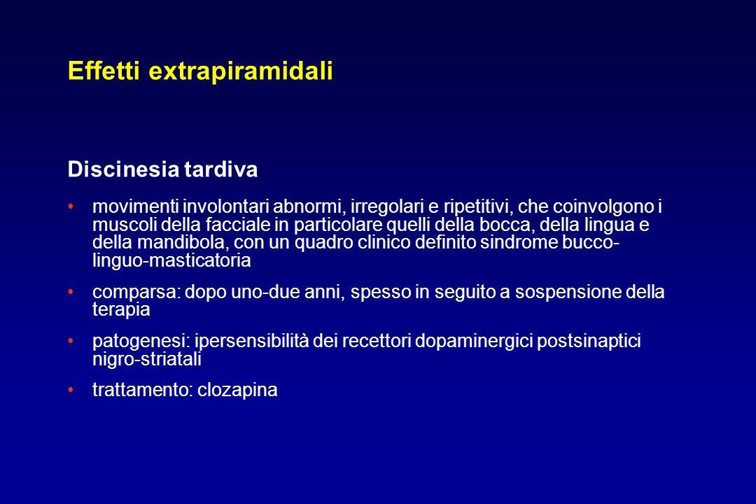 Effetti extrapiramidali Discinesia tardiva movimenti involontari abnormi, irregolari e ripetitivi, che coinvolgono i muscoli della facciale in partico