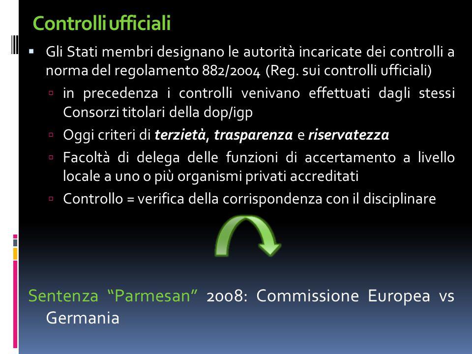 Controlli ufficiali  Gli Stati membri designano le autorità incaricate dei controlli a norma del regolamento 882/2004 (Reg. sui controlli ufficiali)