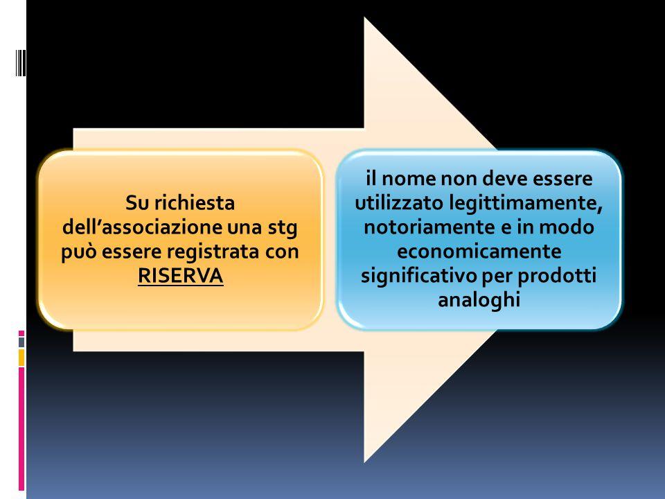 Su richiesta dell'associazione una stg può essere registrata con RISERVA il nome non deve essere utilizzato legittimamente, notoriamente e in modo eco