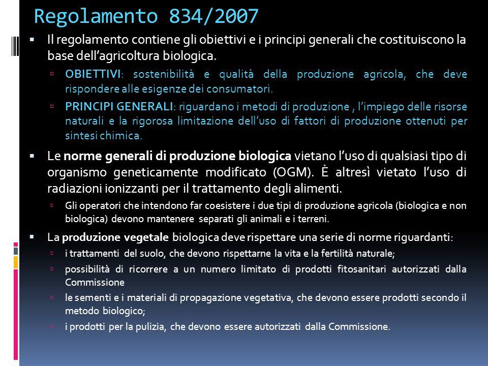 Regolamento 834/2007  Il regolamento contiene gli obiettivi e i principi generali che costituiscono la base dell'agricoltura biologica.  OBIETTIVI: