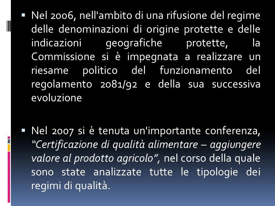 Il pacchetto qualità  Il 10 dicembre 2010 la Commissione Europea ha formalmente adottato quattro proposte normative  il pacchetto qualità  dopo un percorso di approfondimento durato alcuni anni e articolatosi con la presentazione nel 2008 del Libro Verde sulla qualità e, nel 2009, con la Comunicazione al Parlamento Europeo e al Consiglio sulla politica di qualità dei prodotti agricoli
