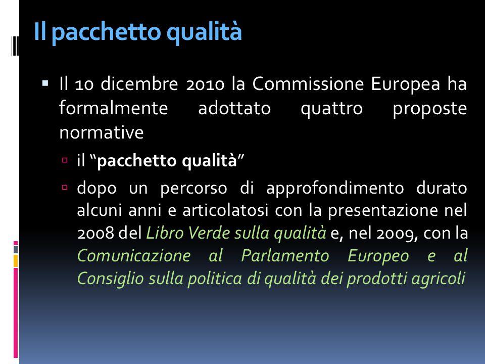 Il pacchetto qualità è costituito da una serie di proposte dirette a - istituire una politica di qualità dei prodotti agricoli coerente e finalizzata ad aiutare gli agricoltori a comunicare meglio le qualità, le caratteristiche e le proprietà dei prodotti agricoli, garantendo un adeguata informazione dei consumatori Il pacchetto qualità comprende:  una proposta di regolamento sui regimi di qualità dei prodotti agricoli, volto a conferire coerenza e chiarezza ai regimi dell UE;  una proposta di modifica al regolamento Ce 1234/2007 sugli standard di mercato, nell'ambito della OCM unica;  una linea guida sull'etichettatura degli alimenti che utilizzano DOP e IGP come ingredienti  una linea guida sugli schemi volontari di certificazione