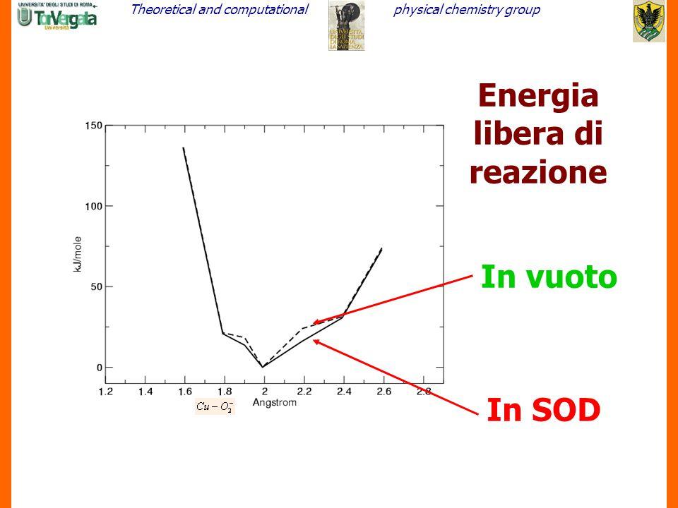 Theoretical and computationalphysical chemistry group 19 Energia libera di reazione In vuoto In SOD