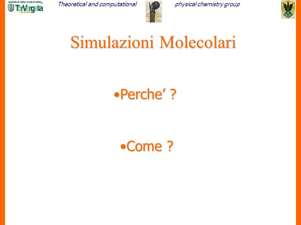 Theoretical and computationalphysical chemistry group 2 Simulazioni Molecolari Perche' ?Perche' ? Come ?Come ?