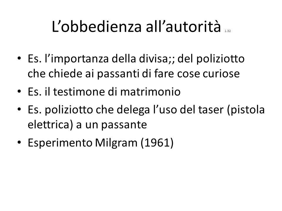 L'obbedienza all'autorità 1.32 Es.