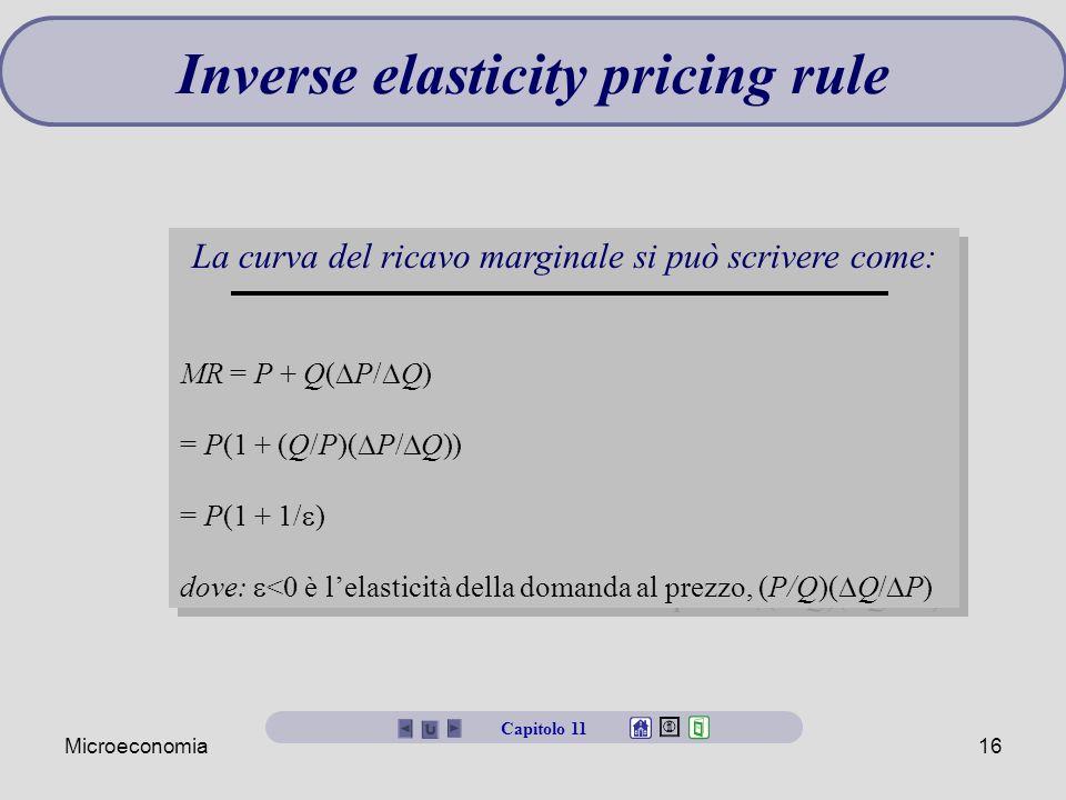 Microeconomia16 Inverse elasticity pricing rule La curva del ricavo marginale si può scrivere come: MR = P + Q(  P/  Q) = P(1 + (Q/P)(  P/  Q)) = P(1 + 1/  ) dove:  <0 è l'elasticità della domanda al prezzo, (P/Q)(  Q/  P) La curva del ricavo marginale si può scrivere come: MR = P + Q(  P/  Q) = P(1 + (Q/P)(  P/  Q)) = P(1 + 1/  ) dove:  <0 è l'elasticità della domanda al prezzo, (P/Q)(  Q/  P) Capitolo 11