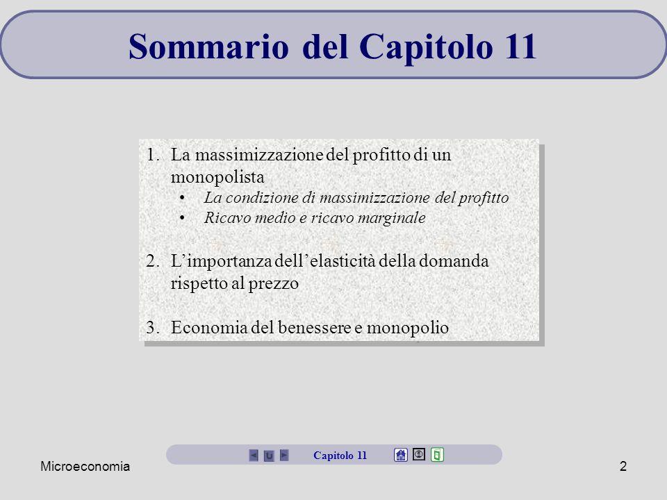 Microeconomia2 Sommario del Capitolo 11 1.La massimizzazione del profitto di un monopolista La condizione di massimizzazione del profitto Ricavo medio