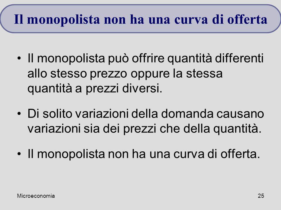 Microeconomia25 Il monopolista può offrire quantità differenti allo stesso prezzo oppure la stessa quantità a prezzi diversi. Di solito variazioni del