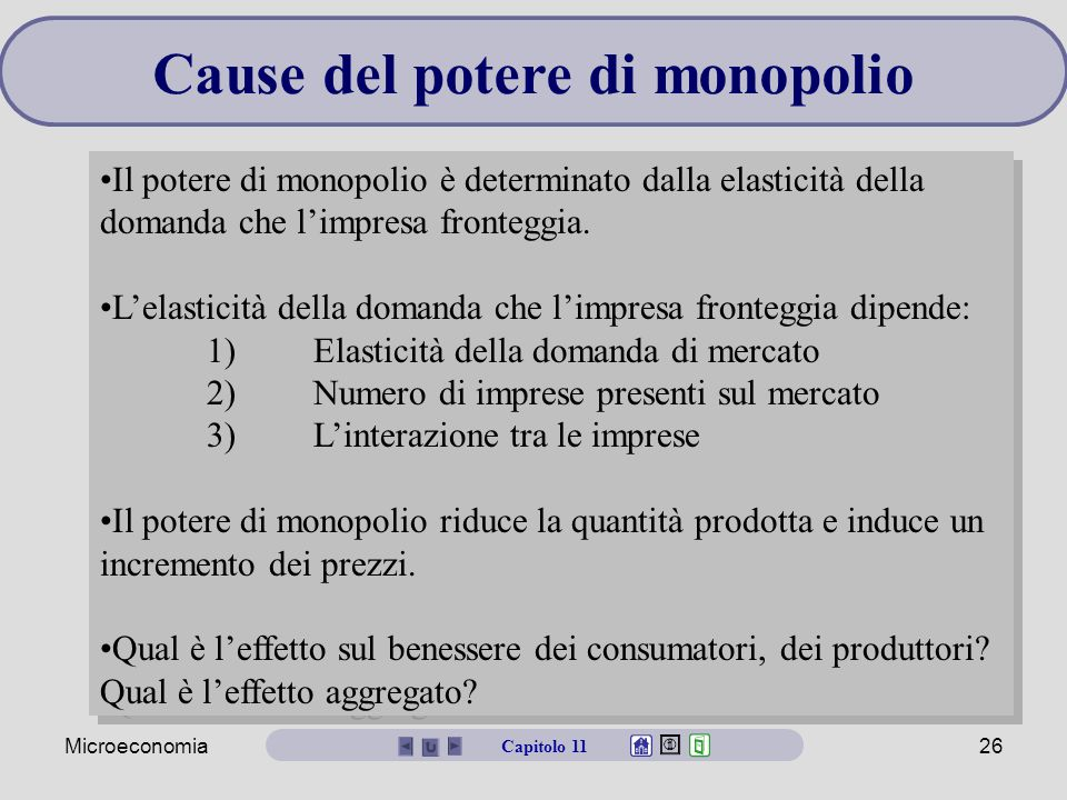 Microeconomia26 Cause del potere di monopolio Il potere di monopolio è determinato dalla elasticità della domanda che l'impresa fronteggia. L'elastici