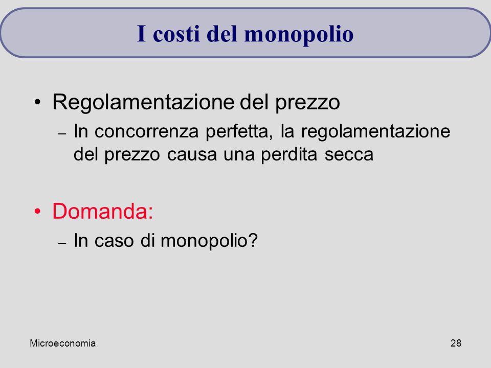 Microeconomia28 I costi del monopolio Regolamentazione del prezzo – In concorrenza perfetta, la regolamentazione del prezzo causa una perdita secca Domanda: – In caso di monopolio?