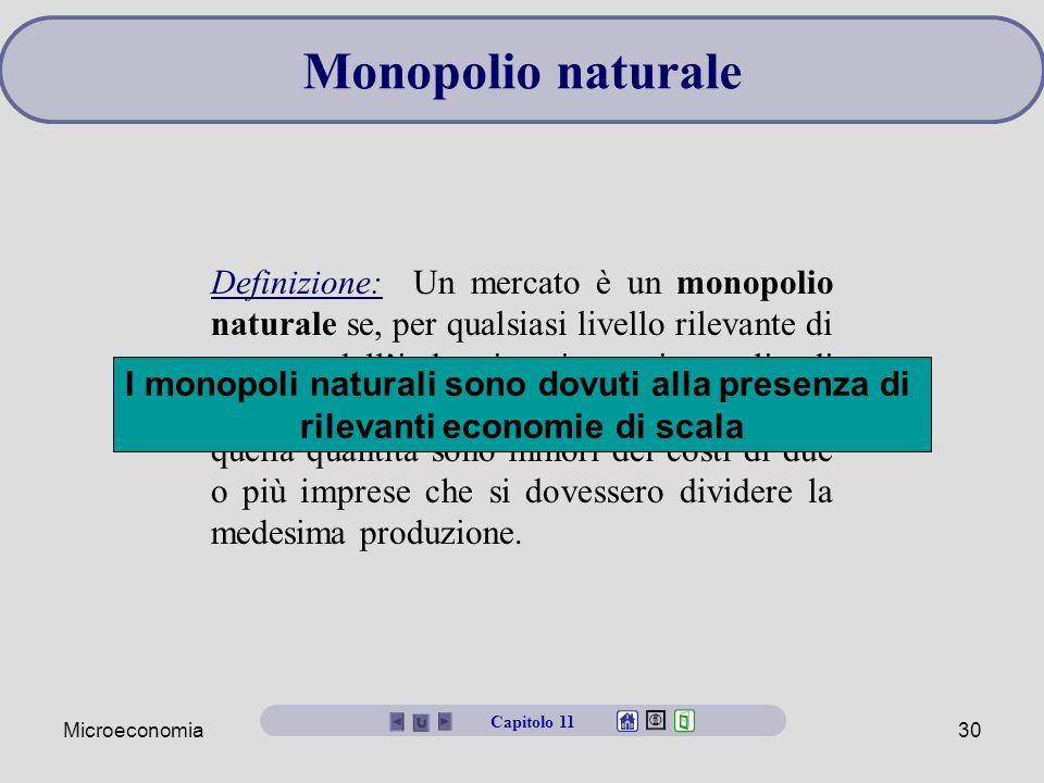 Microeconomia30 Monopolio naturale Definizione: Un mercato è un monopolio naturale se, per qualsiasi livello rilevante di output dell'industria, i costi totali di produzione di un'impresa che produce quella quantità sono minori dei costi di due o più imprese che si dovessero dividere la medesima produzione.