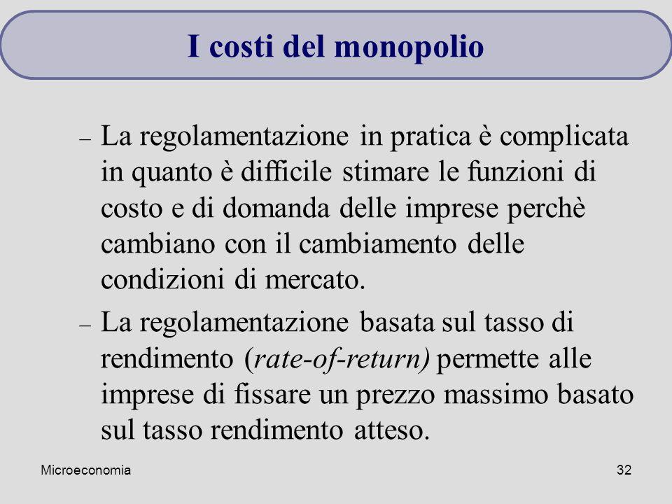 Microeconomia32 I costi del monopolio – La regolamentazione in pratica è complicata in quanto è difficile stimare le funzioni di costo e di domanda delle imprese perchè cambiano con il cambiamento delle condizioni di mercato.