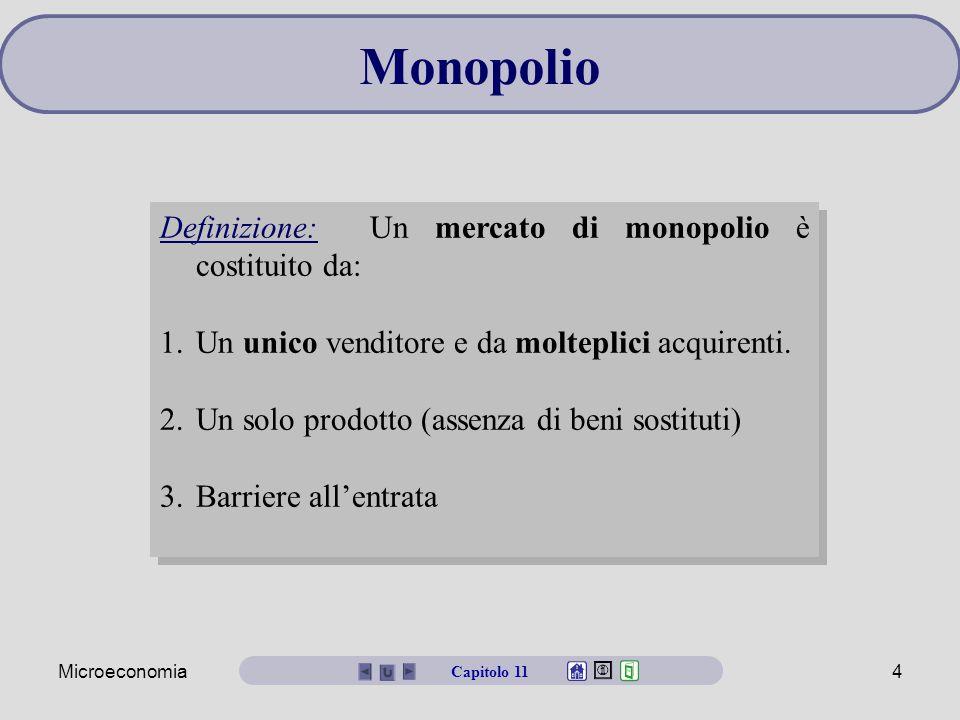 Microeconomia4 Monopolio Definizione: Un mercato di monopolio è costituito da: 1.Un unico venditore e da molteplici acquirenti. 2.Un solo prodotto (as