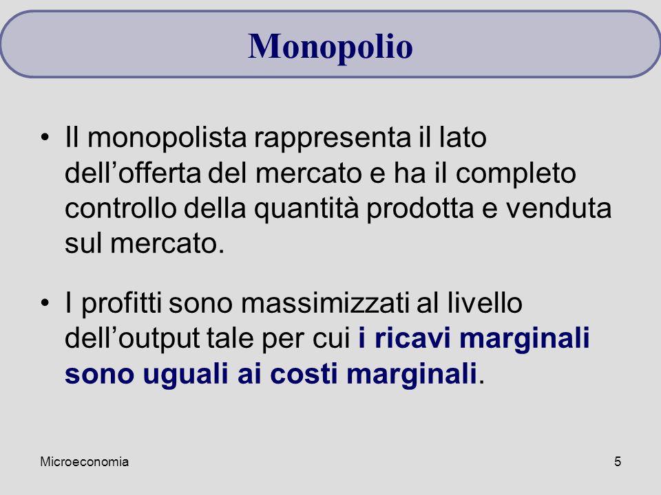 Microeconomia5 Il monopolista rappresenta il lato dell'offerta del mercato e ha il completo controllo della quantità prodotta e venduta sul mercato. I