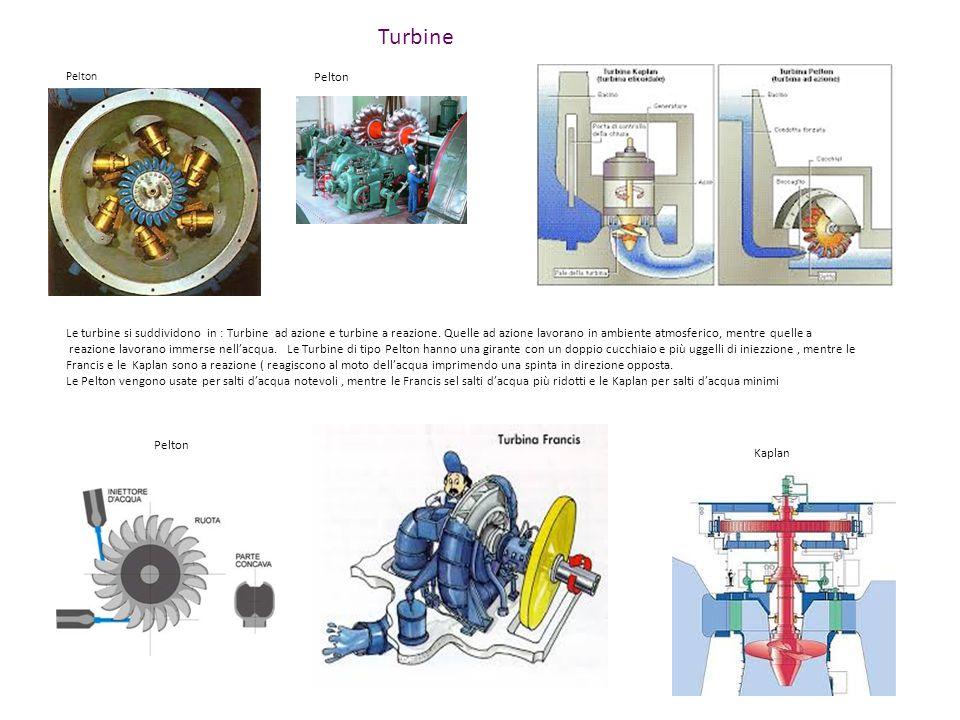 Turbine Le turbine si suddividono in : Turbine ad azione e turbine a reazione. Quelle ad azione lavorano in ambiente atmosferico, mentre quelle a reaz