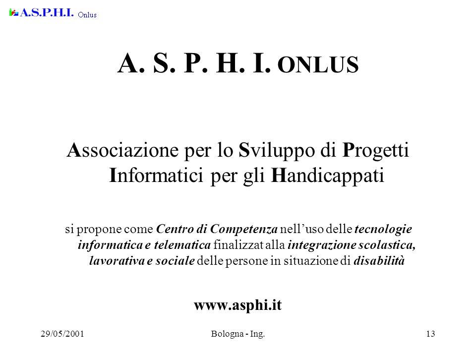 29/05/2001Bologna - Ing.13 A.S. P. H. I.