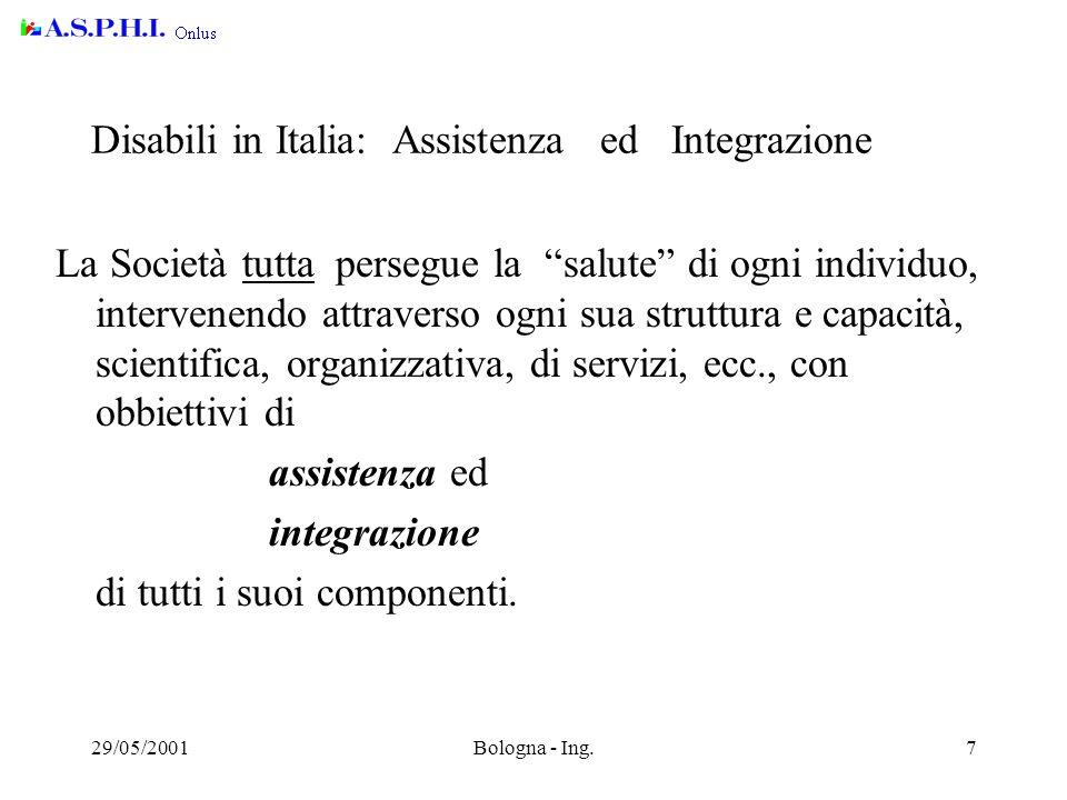 29/05/2001Bologna - Ing.18 Accessibilità - Riferimenti Documentazione ( in inglese ) www.w3c.org/wai (in italiano) www.etabeta.iroe.fi.cnr.it/accesso/accesso.htm www.webusabile.it Linee Guida del W3C per l'accessibilità..