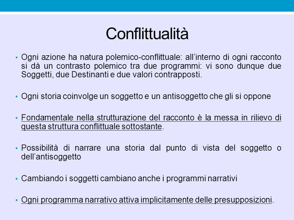 Conflittualità Ogni azione ha natura polemico-conflittuale: all'interno di ogni racconto si dà un contrasto polemico tra due programmi: vi sono dunque due Soggetti, due Destinanti e due valori contrapposti.