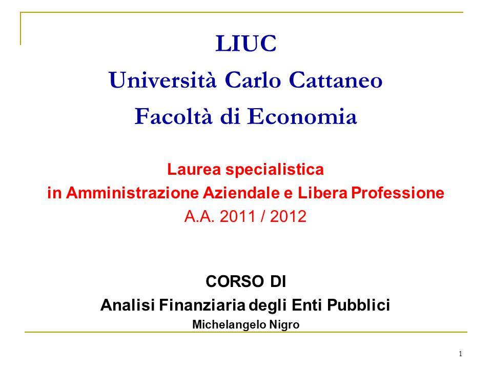 1 LIUC Università Carlo Cattaneo Facoltà di Economia Laurea specialistica in Amministrazione Aziendale e Libera Professione A.A. 2011 / 2012 CORSO DI
