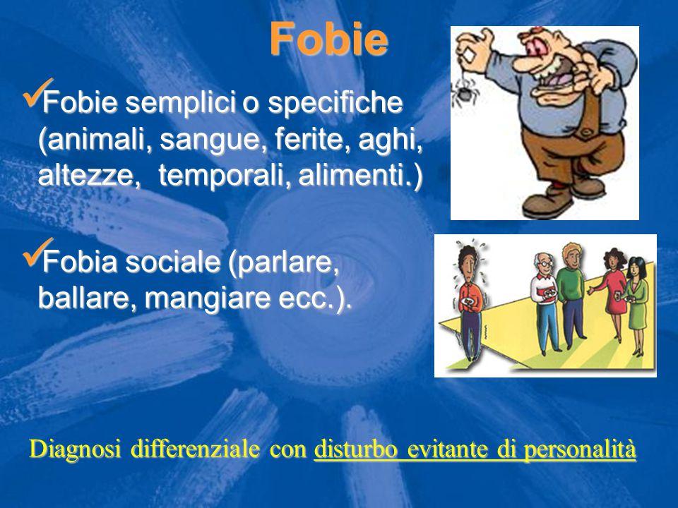 Fobie Fobie semplici o specifiche (animali, sangue, ferite, aghi, altezze, temporali, alimenti.) Fobie semplici o specifiche (animali, sangue, ferite, aghi, altezze, temporali, alimenti.) Fobia sociale (parlare, ballare, mangiare ecc.).