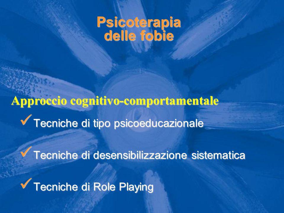 Psicoterapia delle fobie Tecniche di tipo psicoeducazionale Tecniche di tipo psicoeducazionale Tecniche di desensibilizzazione sistematica Tecniche di desensibilizzazione sistematica Tecniche di Role Playing Tecniche di Role Playing Approccio cognitivo-comportamentale