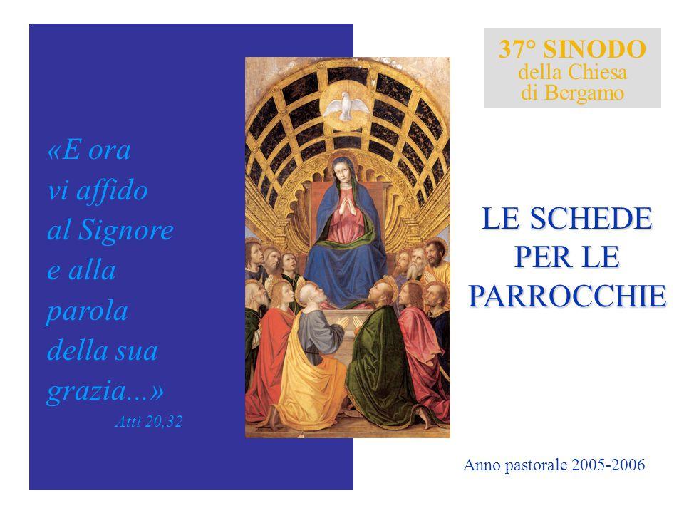 37° SINODO della Chiesa di Bergamo «E ora vi affido al Signore e alla parola della sua grazia...» Atti 20,32 LE SCHEDE PER LE PARROCCHIE Anno pastoral