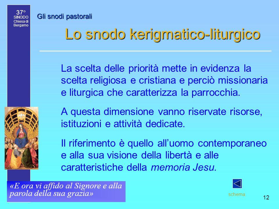 37° SINODO Chiesa di Bergamo «E ora vi affido al Signore e alla parola della sua grazia» 12 Gli snodi pastorali Lo snodo kerigmatico-liturgico La scel