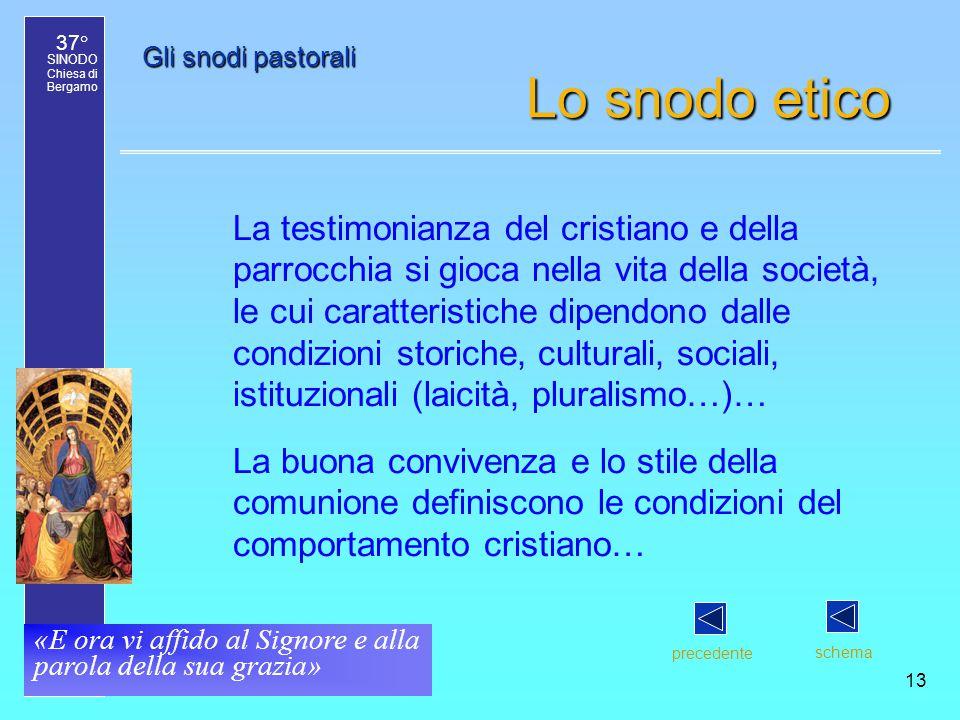 37° SINODO Chiesa di Bergamo «E ora vi affido al Signore e alla parola della sua grazia» 13 Gli snodi pastorali Lo snodo etico La testimonianza del cr