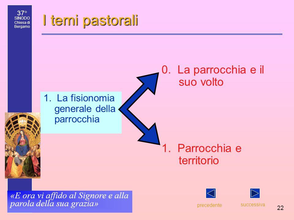 37° SINODO Chiesa di Bergamo «E ora vi affido al Signore e alla parola della sua grazia» 22 I temi pastorali 1. La fisionomia generale della parrocchi