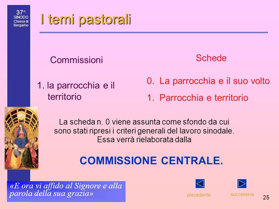 37° SINODO Chiesa di Bergamo «E ora vi affido al Signore e alla parola della sua grazia» 25 I temi pastorali precedente successiva 0.