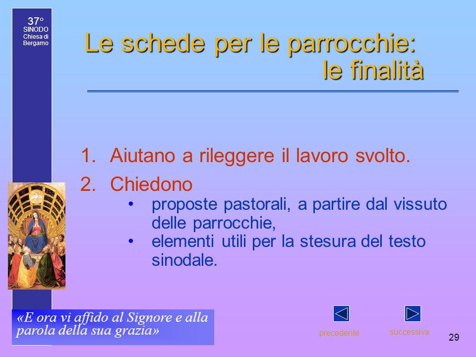 37° SINODO Chiesa di Bergamo «E ora vi affido al Signore e alla parola della sua grazia» 29 Le schede per le parrocchie: le finalità 1.Aiutano a rileggere il lavoro svolto.