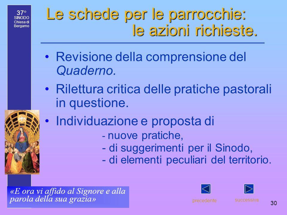37° SINODO Chiesa di Bergamo «E ora vi affido al Signore e alla parola della sua grazia» 30 Le schede per le parrocchie: le azioni richieste.
