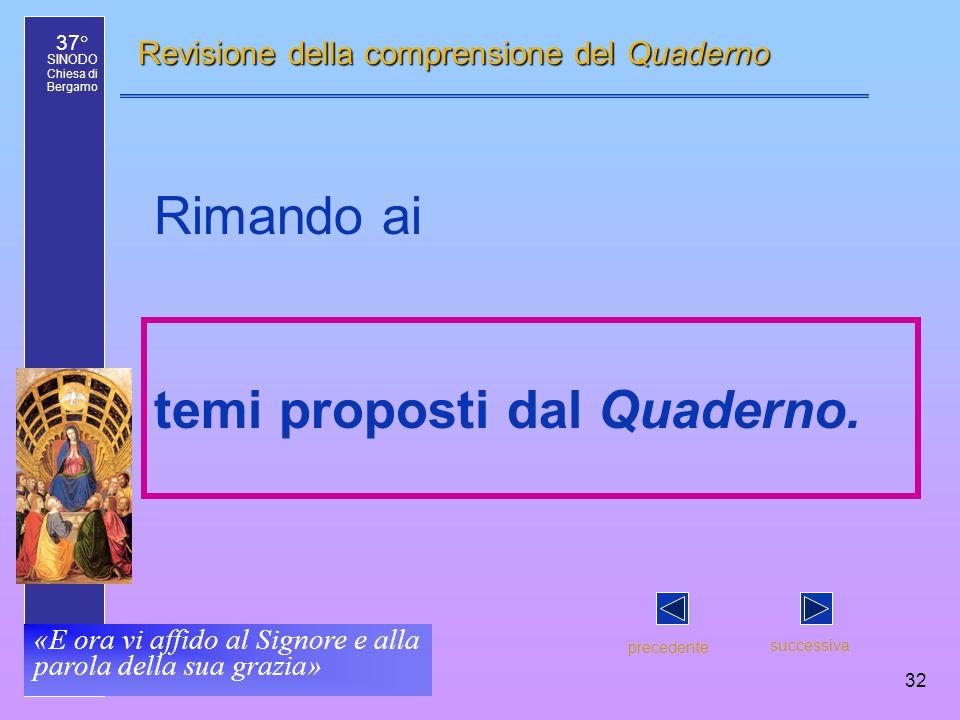37° SINODO Chiesa di Bergamo «E ora vi affido al Signore e alla parola della sua grazia» 32 Revisione della comprensione del Quaderno Rimando ai temi proposti dal Quaderno.