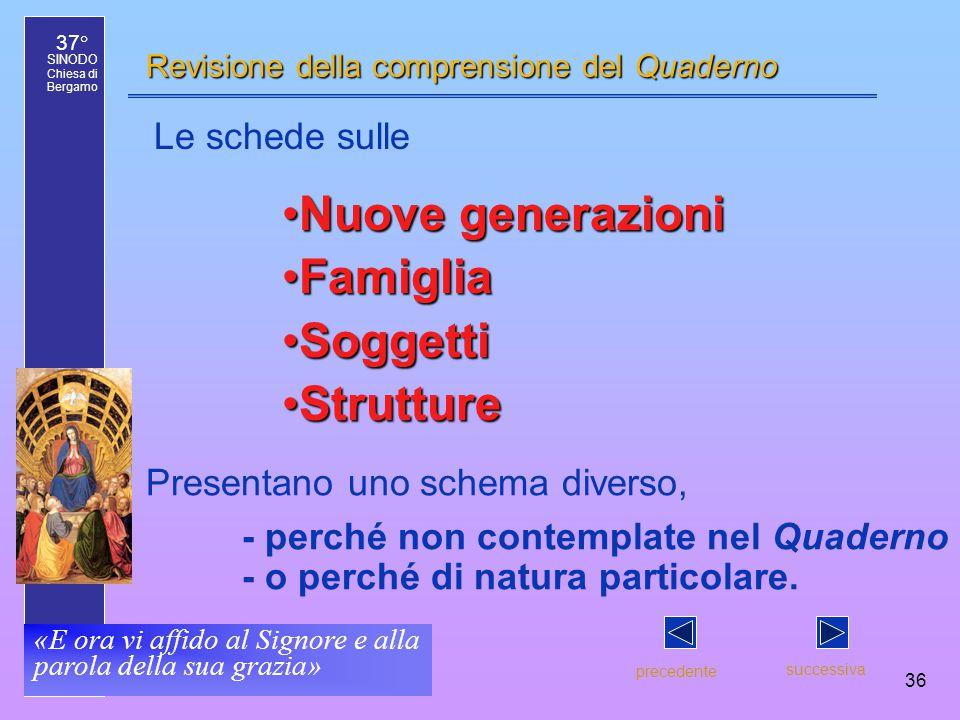 37° SINODO Chiesa di Bergamo «E ora vi affido al Signore e alla parola della sua grazia» 36 Revisione della comprensione del Quaderno precedente succe