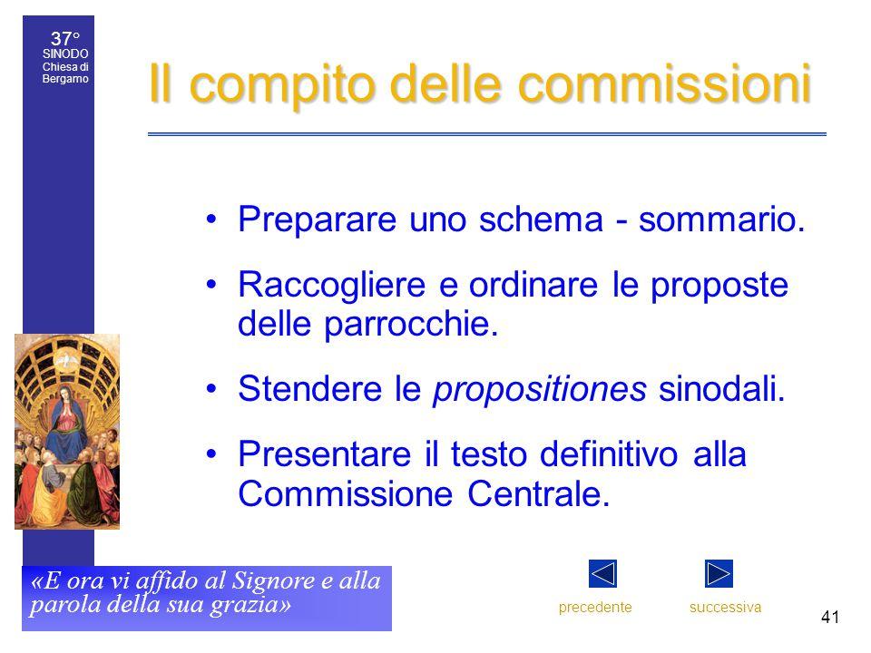 37° SINODO Chiesa di Bergamo «E ora vi affido al Signore e alla parola della sua grazia» 41 Il compito delle commissioni Preparare uno schema - sommario.