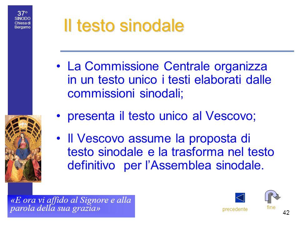37° SINODO Chiesa di Bergamo «E ora vi affido al Signore e alla parola della sua grazia» 42 Il testo sinodale La Commissione Centrale organizza in un