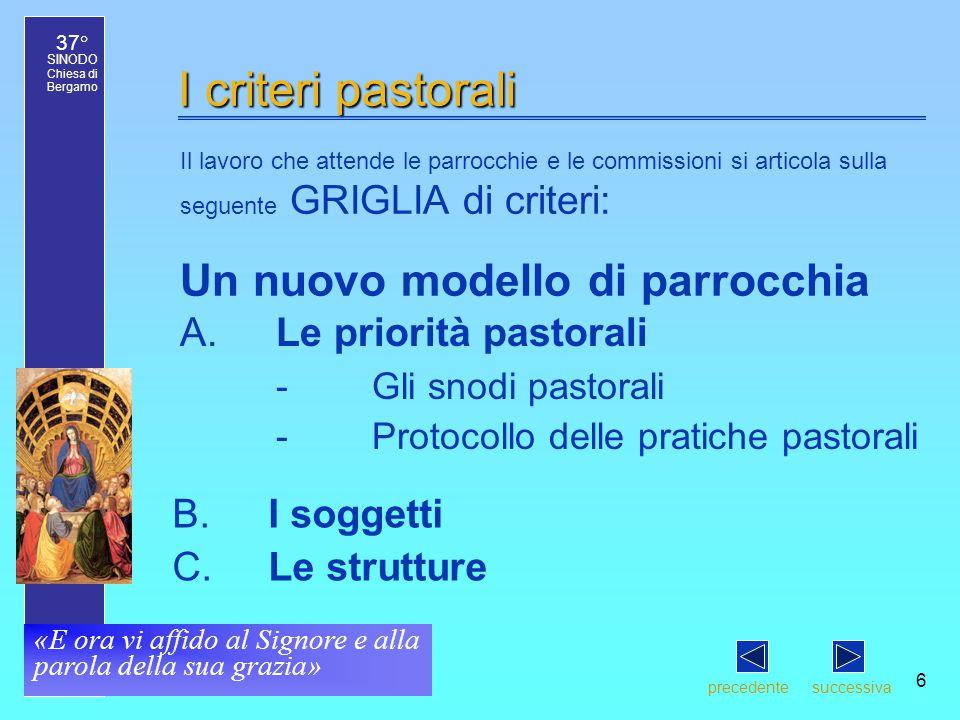 37° SINODO Chiesa di Bergamo «E ora vi affido al Signore e alla parola della sua grazia» 6 I criteri pastorali Il lavoro che attende le parrocchie e l