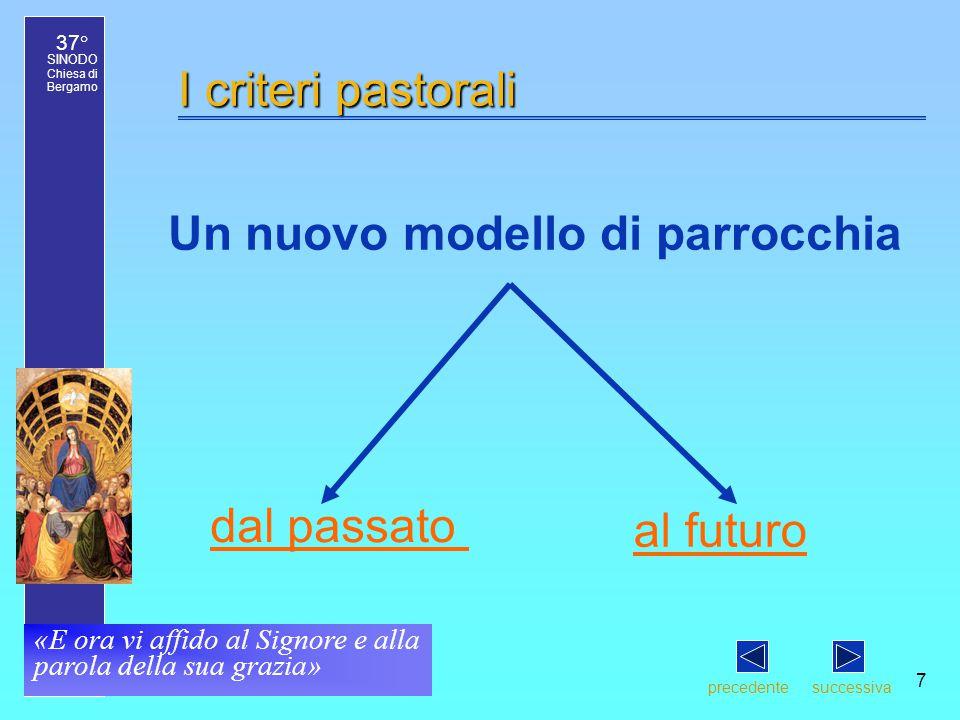 37° SINODO Chiesa di Bergamo «E ora vi affido al Signore e alla parola della sua grazia» 7 I criteri pastorali Un nuovo modello di parrocchia precedentesuccessiva al futuro dal passato